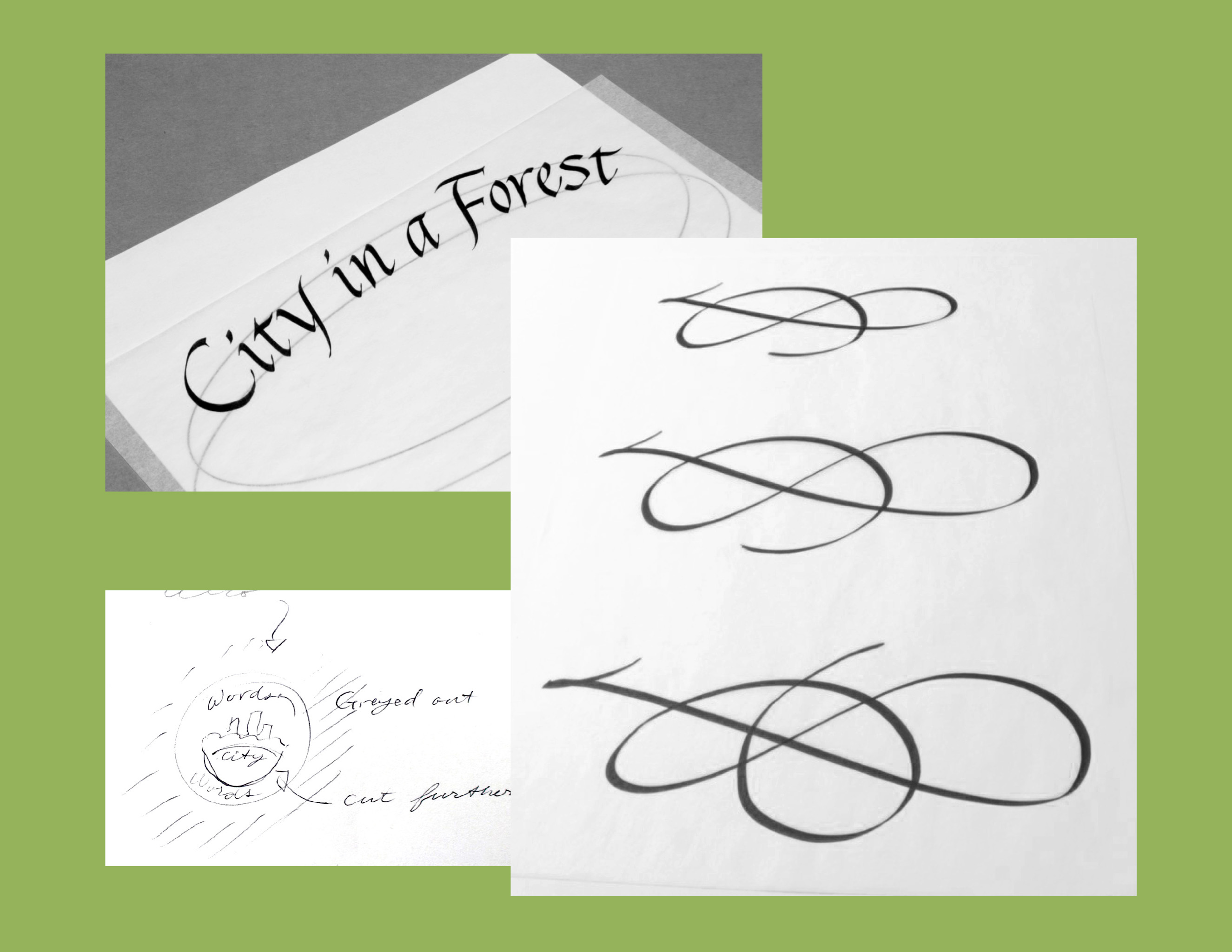 Practice sketches for the creation of the City in a Forest Event Logo